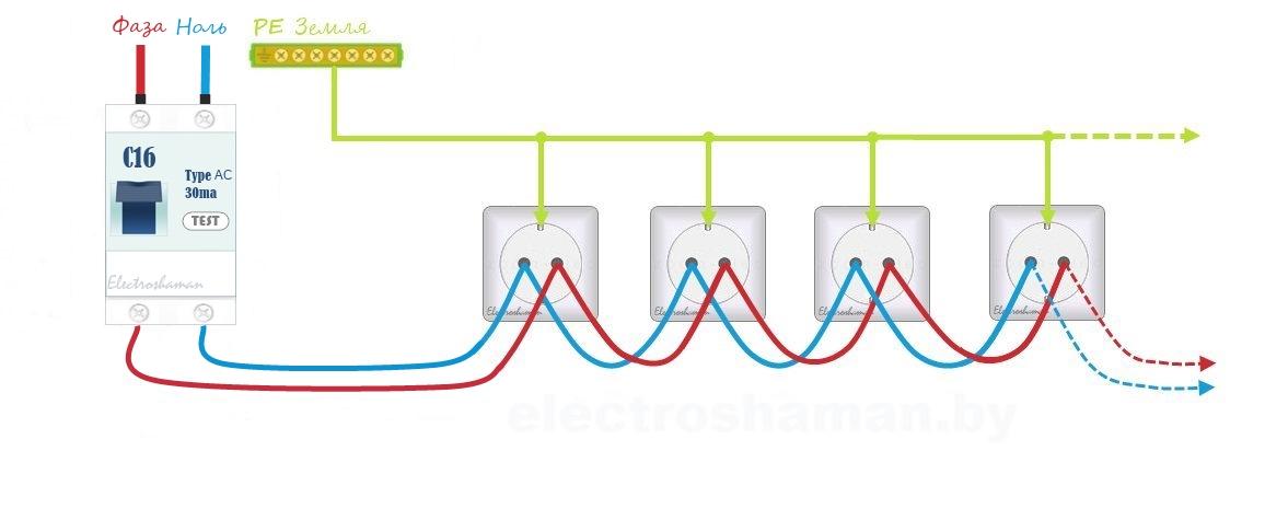 Принцип подключения линии розеток шлейфом
