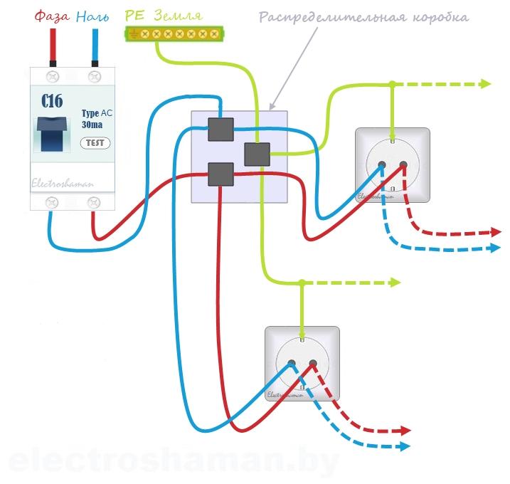 Принцип подключения розеток через распределительную коробку